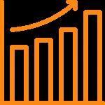 Orange graph showing growth