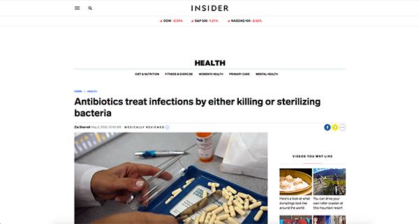 project screenshot Article for Insider How antiobiotics work