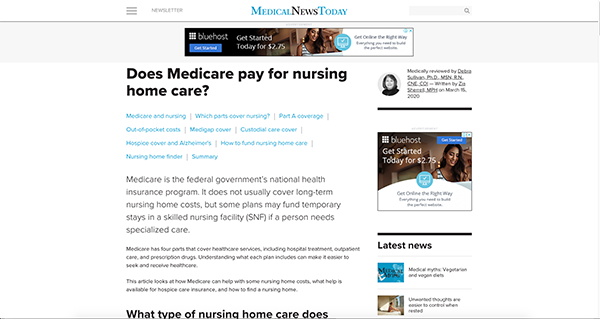 project screenshot Article Medical News Today Does Medicare pay nursing homes