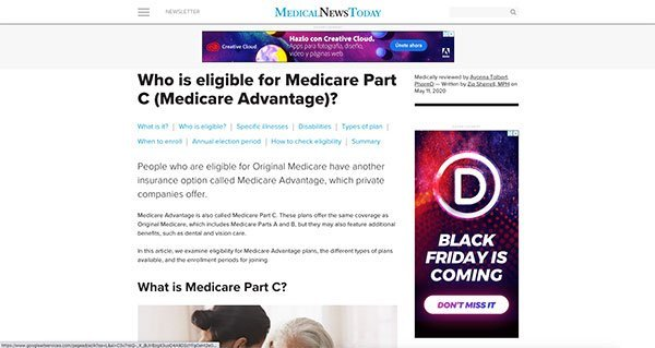 project screenshot Article Medical News Today Medicare part C eligibility