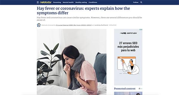 project screenshot Article NetDoctor Coronavirus hay fever