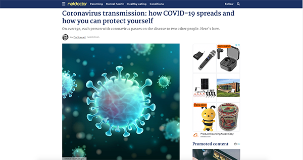 project screenshot Article NetDoctor Coronavirus transmission How COVID-19 spreads how can protect yourself