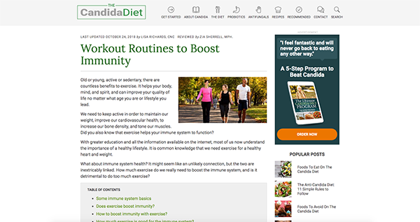 project screenshot B2C article Candida Diet outlining importance exercise immune function