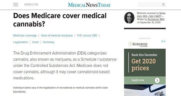 Screenshot cannabis Medicare article