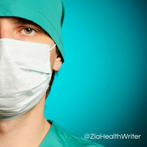 Half face image of a male masked surgeon