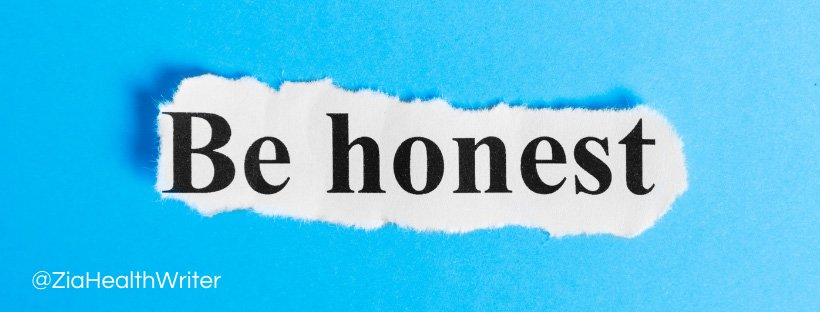 Image of some blue paper with a tear out of the words be honest on top