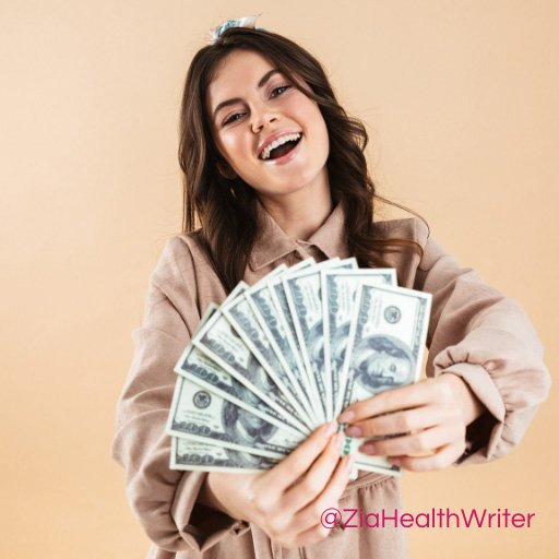 Image of lady fan-displaying a bunch of $100 bills and smiling