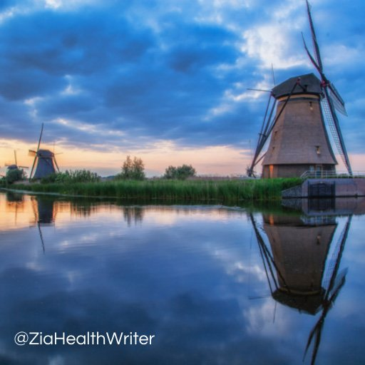 Image of dutch windmill and reflection on water