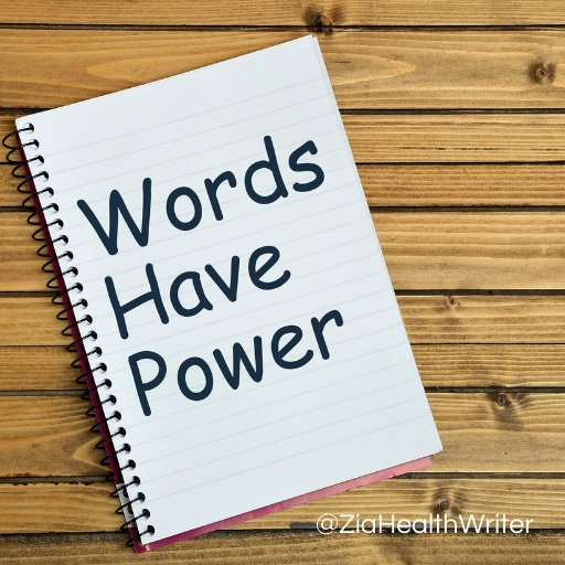 Image of a notepad reading words have power